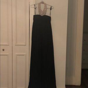 Aidan Mattox Black Gown With Pearl Neckline
